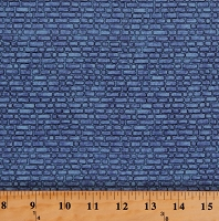 Cotton Enchanted Kingdom Castle Walls Bricks Brick Wall Blue Medieval Cotton Fabric by the Yard (1645-1)
