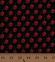 Cotton Cherries Cherry Fruits Food Kitchen Cherries Jubilee Black Cotton Fabric Print by the Yard (05194-12)