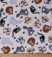 Cotton Cats Animals Pets Leopard Print on Cream Cat Nip Cotton Fabric Print by the Yard (08066-07)