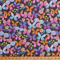 Cotton Butterflies Multi-Color Butterfly Insects Bugs Flowers on Taupe Painted Wings Cotton Fabric Print by the Yard (43160-3)