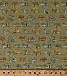 Cotton Campers Trailers Camping Vacation Travel Transportation Vehicles Retro Quilt Light Olive Minnesota Shop Hop Cotton Fabric Print by the Yard (Y1992-23)