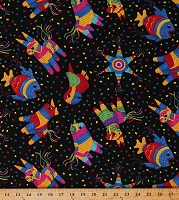 Cotton Pinatas Piñatas Confetti Fish Parrots Mexican Fiesta Cinco de Mayo Party Celebration Black Cotton Fabric Print by the Yard (GM-C1850-BLACK)