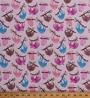 Cotton Sloths Hanging Tree Branches Blue Brown Pink Animals on Pink Cotton Fabric Print by the Yard (FUN-C6611-PINK)