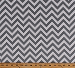 Cotton Half Moon Modern Gray & White Chevron Striped Cotton Fabric Print by the Yard (32216-21)