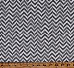 Cotton Half Moon Modern Zig Zags Gray & White Chevron Striped Cotton Fabric Print by the Yard (32217-21)