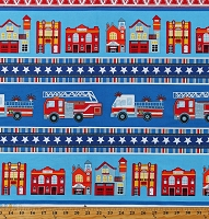 Cotton Fire Trucks Engines Firetrucks Emergency Vehicles Fire Stations Firefighters Firehouse Village Stripe (4 Parallel Stripes) Blue Cotton Fabric Print by the Yard (03281-55)