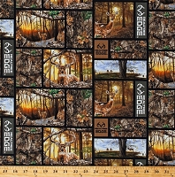 Cotton Realtree Daybreak Edge Patch Whitetail Deer Hunting Camouflage Squares Cotton Fabric Print by the Yard (1170)