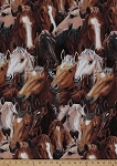 Cotton Running Free Horses Allover Cotton Fabric Print by the Yard (4061eq-8302-9)