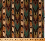 Cotton Southwest Stripe Southwestern Native American Tribal Designs Rustic Northwoods Wooden-Look Brown Teal Green Cotton Fabric Print by the Yard (1133046-B-2)