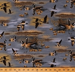 Cotton Flying Geese Canadian Goose Goslings Birds on Lake Scenic Wildlife Nature Cotton Fabric Print by the Yard (1649-26712-W)