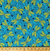 Cotton Dragonflies Dragonfly Bugs Green Insects on Blue Floral Scroll Hayden Cotton Fabric Print by the Yard (1649-26304-B)