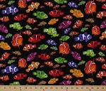 Cotton Ocean Ave Clownfish Nemo Neon Colorful Fish on Black Cotton Fabric Print by the Yard (05918-12)