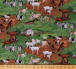 Cotton Goats Kids Barns Pastures Farm Animals Green Cotton Fabric Print by the Yard (359GREEN)