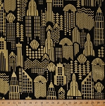 Cotton Towers Buildings Skyscrapers City Sky Line Skyline Cityscape Art Deco Architecture Gold Metallic Shimmer on Black Luxury Cotton Fabric Print by the Yard (lux-cm9688)