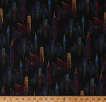 Cotton City Lights at Night Skyline Skyscrapers Buildings Towers Downtown Multi-Color on Black One of a Kind Cotton Fabric Print by the Yard (50905-1)