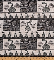 Cotton Perfume Bottles French Vintage-Look Toilette Fragrance Parfum Cotton Fabric Print by the Yard (WA-3115-3C-1BLACK)