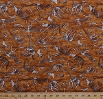 Cotton Dinosaurs Bones Dino Skeletons Buried Fossils Raptors T-Rex Paleontologists Archaeologists Reptiles Animals Jurassic Jungle Brown Cotton Fabric Print by the Yard (1649-24329-T)