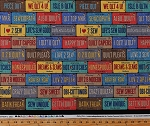 Cotton License Plates Row by Row Sewing Phrases Words Seamstress On the Go Cotton Fabric Print by the Yard (ROW-C5061)