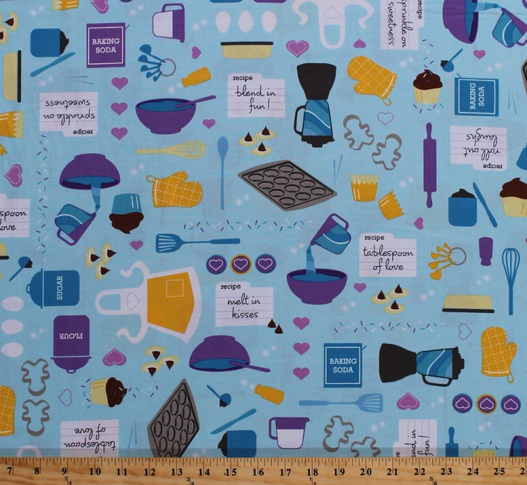 Merveilleux Cotton Baked With Love Baking Cooking Kitchen Supplies Utensils On Blue  Cotton Fabric Print By The Yard (amf 14418 77 Blueberry)
