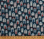 Cotton Beach Houses Lake Ocean Homes Cottages Summer Vacation Anchors Seagulls Buoys Nautical Sailors Sea View Blue Cotton Fabric Print by the Yard (TP-1635-1)