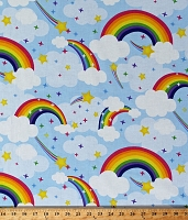 Cotton Rainbows Shooting Stars Clouds Blue Sky Kids Children's Emelia's Dream Cotton Fabric Print by the Yard (9418-11)