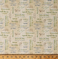 Cotton Gardening Herbs Names Herb Garden Word Clouds on Tan Country Farmer's Market Kitchen From the Garden Cotton Fabric Print by the Yard (28118-274)