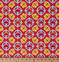 Cotton Butterfly Medallion Butterflies Insects Red Orange Pink Yellow Patrick Lose Anna's Garden Spring Red Cotton Fabric Print by the Yard (63781-D650715)