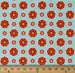 Cotton Flowers Orange Pink Floral on Mint Patrick Lose Anna's Garden Flower Dots in Sky Cotton Fabric Print by the Yard (63794-E190715)