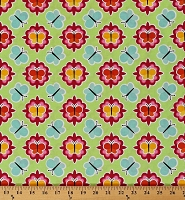 Cotton Butterfly Medallion Butterflies Insects on Green Patrick Lose Anna's Garden Spring Cotton Fabric Print by the Yard (63781-6470715)