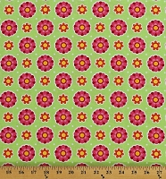 Cotton Flowers Pink Orange Floral on Green Patrick Lose Anna's Garden Flower Dots in Leaf Cotton Fabric Print by the Yard (63974-8690715)