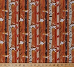 Cotton Ramble & Roost Flying Squirrels Animals Trees Orange Cotton Fabric Print by the Yard (Y1739-36)