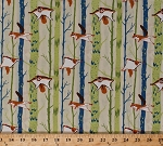 Cotton Ramble & Roost Flying Squirrels Animals Blue and Green Trees on Light Khaki Cotton Fabric Print by the Yard (Y1739-11)