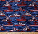 Cotton Emergency! Fireboats Fire Rescue Boats Ships Water Light Navy Blue Cotton Fabric Print by the Yard (y1701-93)