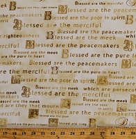 Cotton Bible Verses The Beatitudes Scriptures Scriptural Words Blessings Quotes Sayings Phrases Christian Christianity Faith Religious Heaven Sent Tan Cotton Fabric Print by the Yard (08568-07)