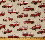 Cotton Emergency! Ambulances Paramedics Emergency Medical Service EMS Vehicles on Cream Cotton Fabric Print by the Yard (y1704-57)