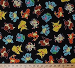 Cotton Original Pokemon Characters Toss Nintendo Video Games Kids Jet Black Cotton Fabric Print by the Yard (aop-15114-190-jet)
