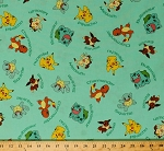 Cotton Original Pokemon Characters with Names Pikachu Meowth Squirtle Charmander Bulbasaur Eevee Video Games Nintendo Aqua Kids Cotton Fabric Print by the Yard (aoq-72015-70-aqua)