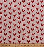 Cotton Roosters Chickens Barnyard Fowl Poultry Cockerel Birds Farm Animals Country A Day On The Farm Red Tan Cotton Fabric Print by the Yard (4676-26440)