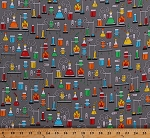 Cotton Science Experiments Chemistry Lab Laboratory Equipment Beakers Test Tubes Multi-Color on Gray Science Fair 2 Cotton Fabric Print by the Yard (SRK-17929-205MULTI)
