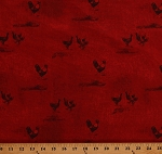 Cotton Roosters Chickens Poultry Farm Animals Birds on Red Country Good To Be Home Cotton Fabric Print by the Yard (Y2246-4)