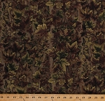 Cotton Camouflage Camo Trees Tree Branches Leaf Leaves Outdoors Woods Nature Green and Brown Cotton Fabric Print by the Yard (2951B-8N)