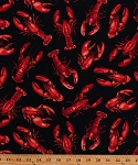 Cotton Lobsters Lobster Claws Crustaceans Sea Food Seafood Ocean Floor Animals Red Black Cotton Fabric Print by the Yard (BEACON-C4556)