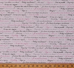 Cotton French Phrases Words Script Travel France White Cotton Fabric Print by the Yard (1649-24611-P)