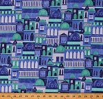 Cotton City Buildings Houses Domes Jerusalem Festival of Lights Star of David Israel Blue Cotton Fabric Print by the Yard (22328-44)