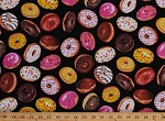 Cotton Tossed Donuts Doughnuts Food Sweets Desserts Black Cotton Fabric Print by the Yard (fun-c4923-blk)