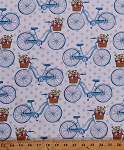 Cotton Bikes Bicycles in Meadow Baskets of Flowers Floral Transportation Summer Scenic Landscape Farmer's Market White Blue Vintage Cotton Fabric Print by the Yard (CX7313-SKYX-D)