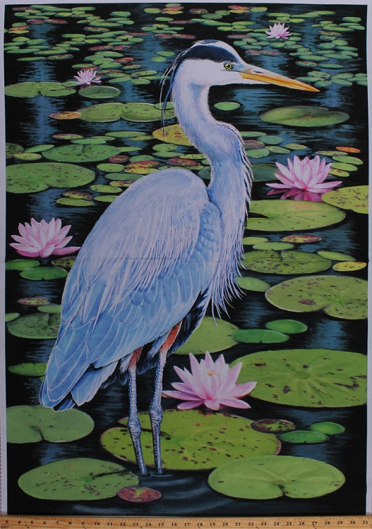 29 Quot X 44 Quot Panel Blue Heron Bird Water Lilies Lily Pads