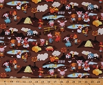 Cotton Cute Farm Animals Hoedown Barnyard Pigs Horses Cows Harmony Farm Children's Kids Brown Cotton Fabric Print by the Yard (C6690-BROWN)