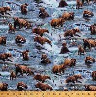 Cotton Brown Bears Grizzly Bears Grizzlies Catching Salmon River Stream Scenic Wildlife Animals Fishing Bears Blue Cotton Fabric Print by the Yard (10001BLUE)