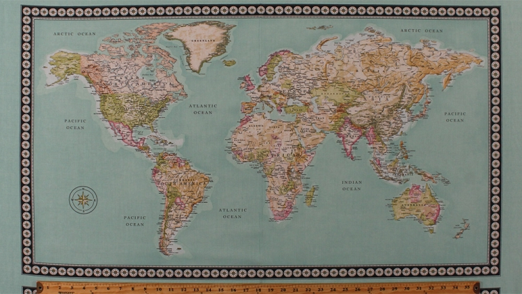 23 x 44 panel world map continents countries oceans geography 23 x 44 panel world map continents countries oceans geography travel nautical meridian cotton fabric panel 50033p x gumiabroncs Gallery